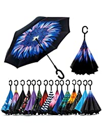 MultiZone Men's Polyester Inverted Windproof Upside Down Reverse Travel Umbrella (umb01-v)