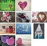 20 Liebes-postkarten im Set (10 Motive mit jeweils 2 Postkarten), Love-cards, Liebe, Herzen, Hochzeit (Set 4)