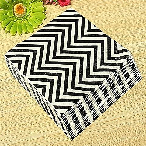 aliciashouse 20PCS colorato Wave Pattern partito tovaglioli di carta 2strati banchetti Black
