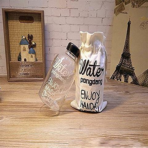 Bluelover Creativo 1L vidrio de agua de alta capacidad vaso botella de agua transparente con una bolsa-600 ml
