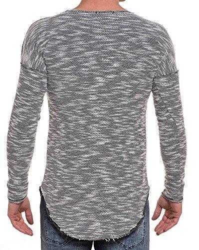 BLZ jeans - Pull fin gris maille bicolor stylé oversize arrondie Gris