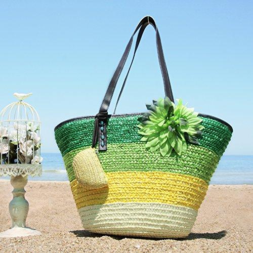 GUMO-Borsa da spiaggia, fiore sacchetto, sacchetto di tessuto, big bag, borsa di paglia, borsa a tracolla e borsa vacanze, borsetta,verde Green