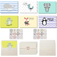 nuoshen 24 Pcs Thank You Card with 24 Pcs Envelope and 24 Pcs Stickers, Foldable Cartoon Animal Thank You Card for Childrens Teachers Friends Birthday Parties