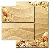 20-tlg. Motivpapier Komplett-Set MUSCHELN IM SAND 10 Blatt Briefpapier + 10 Briefumschläge DIN LANG ohne Fenster