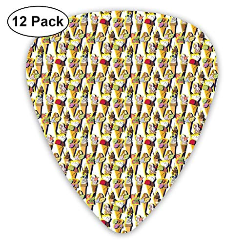 Celluloid Guitar Picks - 12 Pack,Abstract Art Colorful Designs,Repetitive Sweet Summer Dessert Pattern With Colorful Fruity Scoops On Cones,For Bass Electric & Acoustic Guitars. Classic 1000 Dessert