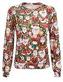 Parabler Damen Sweatshirt Langarmshirt Weihnachtspullover Rundhals Pulli Strickpullover mit Drucken