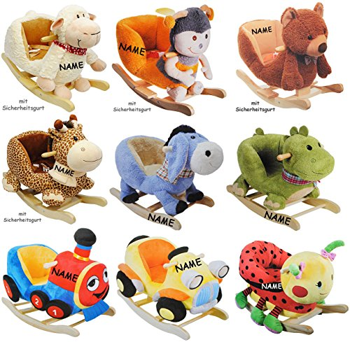 """XL Plüsch Schaukelpferd - """" Giraffe """" - incl. Name - mit Einstiegshilfe und Sicherheitsgurt - Schaukelgiraffe mit Gurt - Schaukeltier mit Holz Gestell mit Plüschbezug & Holz Gestell / für Babys - Kind Schaukel Plüschschaukel für Kinder Mädchen Jungen - Plüsch - Tierschaukel / Zootier Afrika - Zoo - Baby - Wippe / Schaukelwippe - Kippschutz - Schaukelspielzeug"""