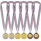 6 Pezzi Bambini Medaglie di Vincitore dello Stile Olimpico Premio Medaglie con Nastro Oro Argento Bronzo Medaglie del Vincitore del Metallo