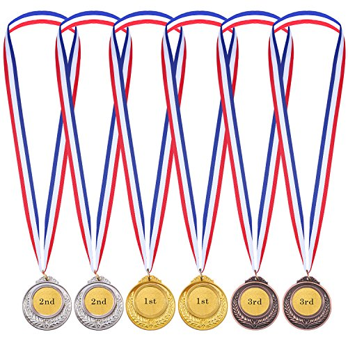 6 Stücke Kinder Olympic Stil Gewinner Medaillen Auszeichnungen mit Band Gold Silber Bronze Metall Sieger Medaillen - Messe-medaille