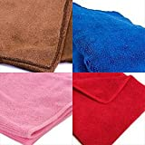 #10: Tex Home Set of 4 Microfibre Towel Cloth for Cleaning Cars, Furniture, Home, 60 cm * 40 cm Red, Blue, Brown, Pink Microfiber towel