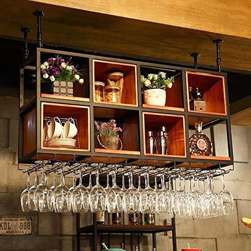 XQY Weinregale Weinregal Massivholz + Eisen Moderne Kreative Suspension Restaurant Bar Display Stand Becher Rack Mehrere Größenauswahl,90 * 32 cm