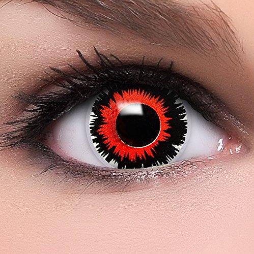 Up Make Mit Kostüm Katze Maske (Farbige Kontaktlinsen 'Brain Shock' in schwarz & rot, weich ohne Stärke, 2er Pack inkl. Behälter und 10ml Kombilösung - Top-Markenqualität, angenehm zu tragen und perfekt zu Halloween oder)
