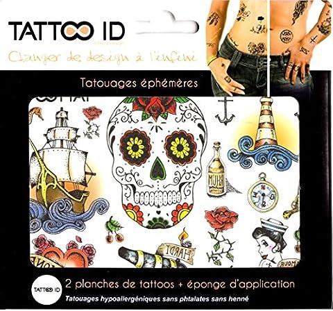 TATTOO ID OLD SCHOOL VINTAGE tatouage ephemere temporaire hypoallergénique Fabriqué en FRANCE. 2 planches identiques cosmétique Homme Femme