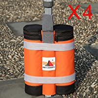 Super Heavy Duty New Premium Instant Shelters Weight Bags- Set of 4 (orange/black)