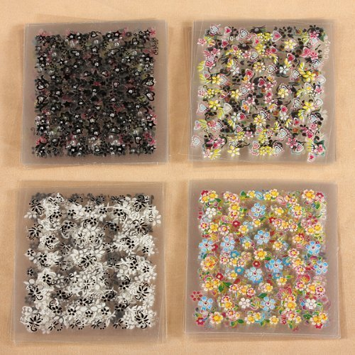 40 sheets 3D Mix Painted Nail Art Sticker Tip Decal Decorations + 10 free