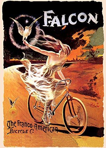 Niña Falcon Eagle Franco americano bicicleta francés Vintage Póster