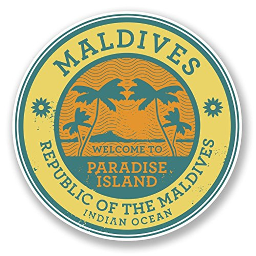 Preisvergleich Produktbild 2x Malediven Vinyl Aufkleber Aufkleber Laptop Reise Gepäck Auto Ipad Schild Fun # 6491 - 10cm/100mm Wide