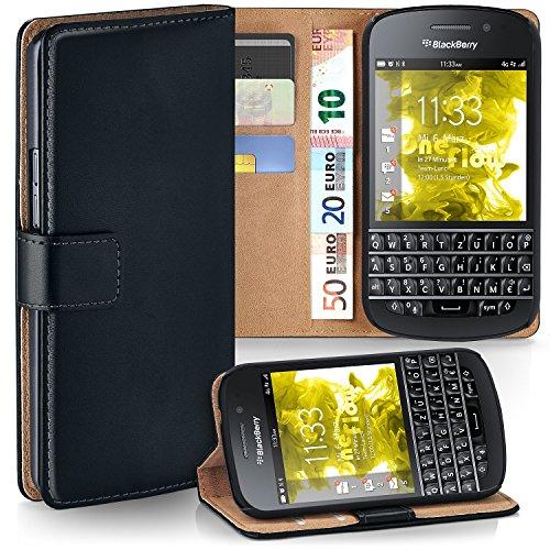 moex BlackBerry Q10   Hülle Schwarz mit Karten-Fach 360° Book Klapp-Hülle Handytasche Kunst-Leder Handyhülle für BlackBerry Q10 Case Flip Cover Schutzhülle Tasche
