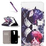 EMAXELERS LG Stylus 2 Hülle PU Leder Brieftasche Hülle Schutzhülle Tasche Ledertasche Kartenfach Flip Cover Wallet Case für LG Stylus 2 LS775/LG G Stylo 2 K520,Mirror&Cat