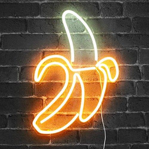 Banane Neon Licht - 47 cm hoch LED Neon Lampe mit Netzteil - für eine trendige Wanddekoration