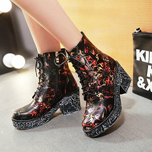 Mee Shoes Damen chunky heels Graffiti Plateau runde kurzschaft Stiefel Rot