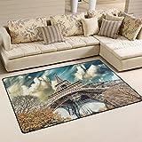 coosun Wonderful Street View of Paris Eiffelturm Bereich Teppich Teppich rutschfeste Fußmatte Fußmatten für Wohnzimmer Schlafzimmer 78,7x 50,8cm, Textil, multi, 31 x 20 inch