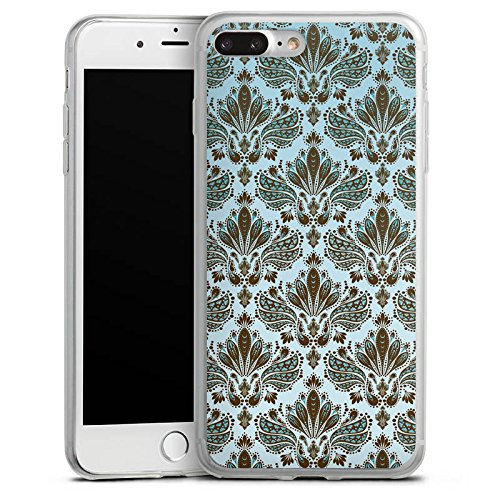 Apple iPhone 8 Plus Slim Case Silikon Hülle Schutzhülle Retro Ornamente Muster Silikon Slim Case transparent