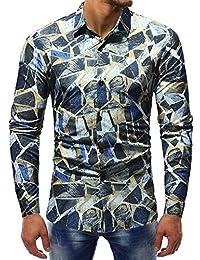 Polo, Camisetas, Blusa,BaZhaHei, Polo de Mangas largas Estampadas Hombre H, Blusa Impresa de la Manera del Hombre Camisas…