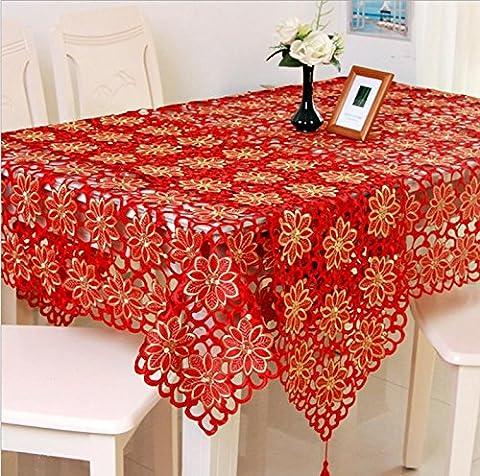 Toiles de table de haute qualité Toile de mariage rouge Brodé Floral Bord de dentelle Couvertures anti-poussière pour la table , 85*85cm