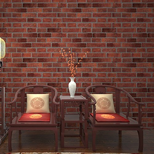 HY-Brick Wallpaper, 3D Stereo Brick, Brick, Chinese Restaurant, Tea House, Imitation Brick, Culture Brick Wall, Wallpaper,Red Brick