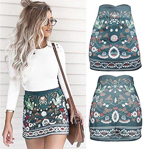d0d03ff8a4f7 35% de Descuento para la Falda Minifalda de Bodycon con Estampado Floral de  Cintura Alta con Cuello Alto Mujer