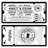 40 x Hochzeit Einladungen Einladungskarten Schwarz-Weiß Ticket Eintritt weiße Version