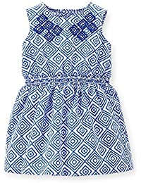 Carter's Baby Girls' Embroidered Geo Print Dress - Blue/White - Newborn