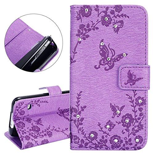 Isaken cover per samsung galaxy s5 neo i9600 - tinta unita flip wallet bling glitter diamante cover in pu pelle portafoglio custodia con supporto di stand/carte slot, diamante: violet