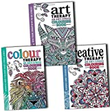 Art Colour and Creative An Anti Stress Therapy Adult Colouring 3 Books Collection Pack Set