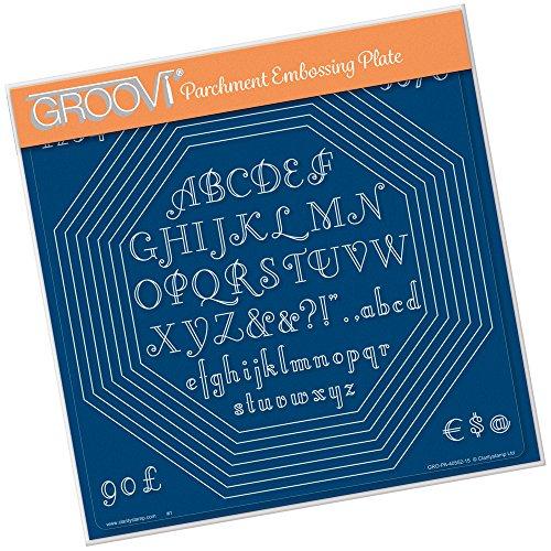 Groovi A4 Assiette carrée – Imbriquées Octagon extension & Art Déco lettres de l'alphabet