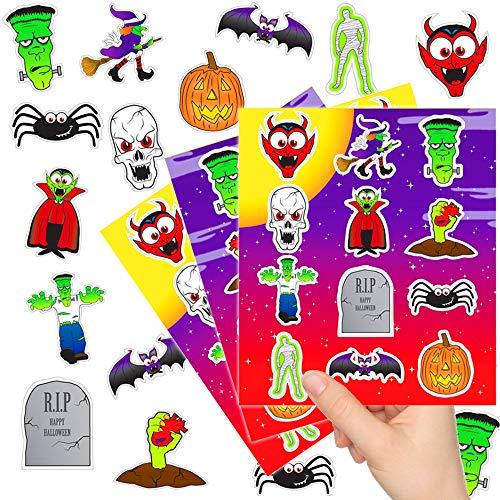 72 x Halloween Sticker - Set Mix ┃ Kleine Monster ┃ Mitgebsel ┃ Halloween Party ┃ 6 Bögen ()