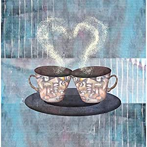 PB Two Cups Of Coffee Or Tea Canvas Painting 6mm Thick MDF Frame 16 x 16.3inch