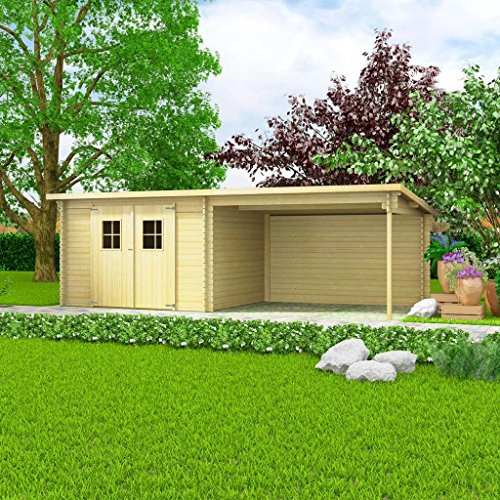 XINGLIEU Garaje de Almacenamiento de Madera Maciza para cobertizo de jardín de 28 mm 6,3 x 3 m...