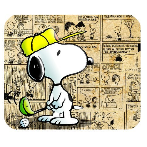 Individuelle Rechteck rutschfeste Gummi Wasserdicht Klassische Cartoon Charakter Peanuts Snoopy Gaming Maus Pad mousepad-wr-yb-167