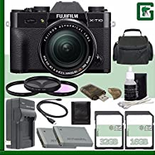 Fujifilm X-T10 Mirrorless Digital Camera With 18-55mm Lens (Black) + 16GB + 32GB Green's Camera Bundle 7