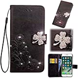Smarit LG Q7 Wallet Multi Card Holder Back Shell Skins Folio PU Leather Cover with Skins Case for LG Q7 - Black