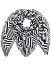 TOM TAILOR Denim Triangle Scarf with Stripes, Echarpe Femme, Blanc (White2 1002), Taille Unique