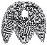 TOM TAILOR Denim Damen Schal Triangle Scarf with Stripes, Weiß (White2 1002), One Size