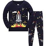 HIKIDS Pijama Niño Invierno-Pijama para Niños-Pijamas de Astronauta Cohete Planeta Excavador Tractor Coche Camión para Niños-