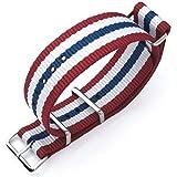 Cinturino MiLTAT 20mm, 21mm o 22mm G10 Cinturino per orologio militare Cinturino in nylon balistico, lucido - Rosso,White & B