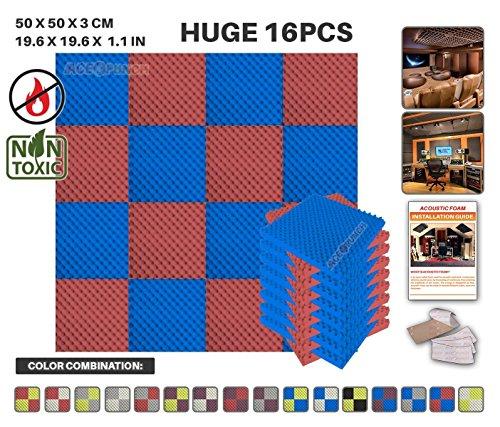 Acepunch 16 Paquet 2 Combinaison de Couleurs Bleu ET Rouge Alvéolée Mousse Acoustique Panneau Insonorisation Sonorisation Absorbeur Traitement avec Ruban Adhésif 50 x 50 x 3 cm AP1052