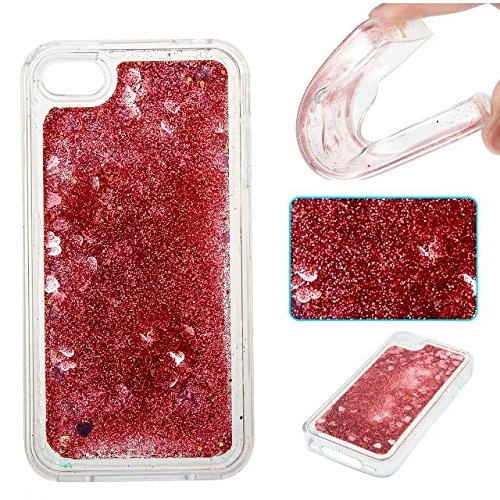 Coque iPhone 4, Coque iPhone 4S, Flowing Liquide Floating Luxe Bling Glitter Sparkle Case Cover pour iPhone 4 / 4S 6# 4G