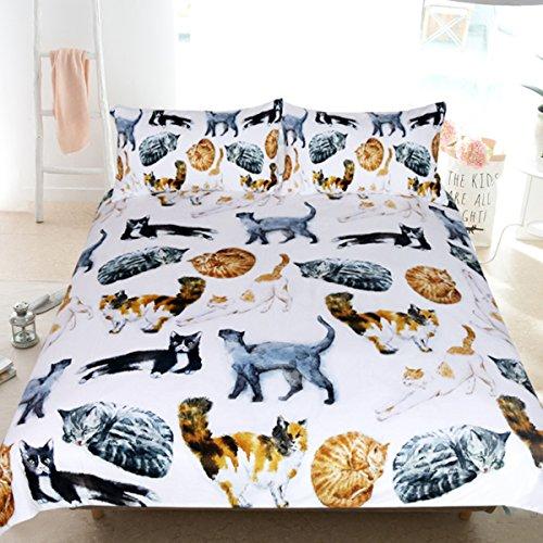 Sleepwish 3Pcs Katze Tagesdecke Cute Hipster Katzen Muster Betten Funny Animal Bettbezug Pastell Farbe Natur Bettwäsche-Set Queen - Queen Bettbezug Natur