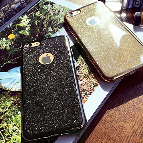 Jinberry Glitzer Schutzhülle für iPhone 7 (4.7 Zoll) / Ultra Dünne Weich TPU Case Handyhülle / Silikon Slim Tasche Back Cover Hülle für Apple iPhone 7 - Gold Gold